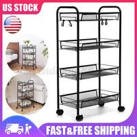 4-Tier Rolling Storage Organizer Trolley Cart Mobile Shelf Kitchen Tower Utility