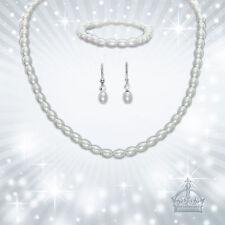 Schmuckset 3tlg. Perlenarmband Perlen weiss Ohrhänger Hochzeit Brautschmuck HZ26