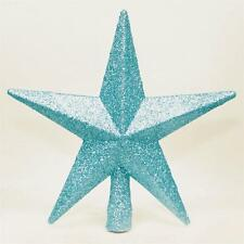 Christmas Decoration Tree Top 200mm Shatterproof Glitter Star - Ice Blue