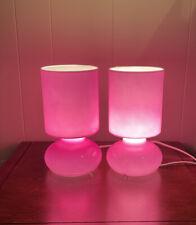 "PAIR IKEA Lykta Lamps Light Handmade Retro Hot Pink 9 3/4"" EXCELLENT"