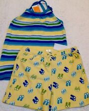 Nwt Gymboree Outfit Aqua Blue Yellow Shorts/Striped Sleeveless Sweater Top 12