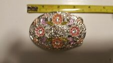 Men Women Metal Fashion Belt Buckle Rhinestone Flowers