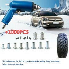 1000X Car Motorcycle Tire Nail Car Tires Studs Screw Snow Chains + Air Gun Tool