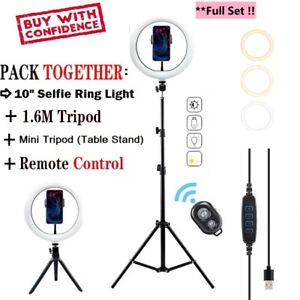 "10"" LED Ring Light with 1.6M Stand for Youtube Tiktok Makeup Video+Remote+Tripod"