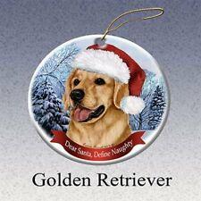 Holiday Pet Gifts Golden Retriever Santa Hat Dog Porcelain Christmas Ornament