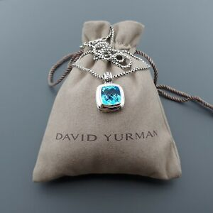 "David Yurman Sterling Silver 11mm Blue Topaz Albion Pendant Necklace 17"""