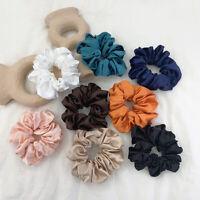 Silky Satin Solid Hair Scrunchies Elastic Hair Bands Ponytail Hair Tie Rope - Vv