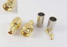 1pcs SMA Male Plug Straight Crimp for RG58 RG142 RG223 RG400 LMR195 Connector