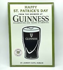 Guinness Beer St Patricks Day 200 Year Metal Tin Man Cave Display 20x14 Sign