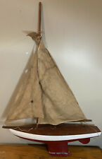 Nice Vintage Antique Wooden Pond Yacht Sailboat Maritime Nautical Display Model