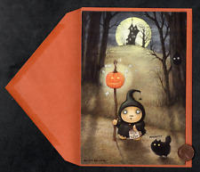 Htf Halloween Melcher Witch Cat Pumpkin Haunted House Greeting Card W/ Tracking