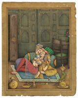 Indian Miniature Old Painting Mughal King And Queen Romance Scene On Paper Art