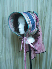 Victorian sun bonnet hat  pink blue flower  Civil Bucket Scuttle  e250