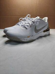 Nike Alpha Huarache Elite 3 Turf Shoes White/Solar Flare CV3560-101 Men's 11.5