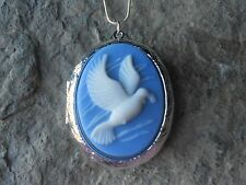 WHITE DOVE CAMEO NECKLACE LOCKET!!! BLUE, WEDDING, VALENTINE'S, CHRISTMAS