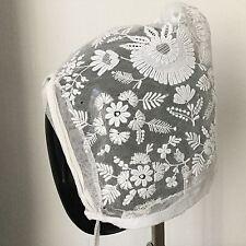 Bonnet Ancien Broderie Dentelle Coiffe Antique French Lace Woman Bonnet