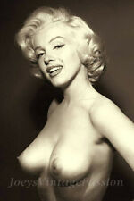 "Vintage NUDE Marilyn Monroe Topless Photo 4"" X 6"" Sepia Reprint Photograph"
