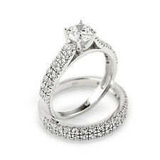 Round Cut 2.86 Ct Dimond Engagement Ring Sets Solid 14kt White Gold Ring M N O P