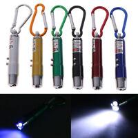 3 In 1 Multifunction Laser Light Pointer Uv 2 Led Torch Flashlight Keychain Fm J