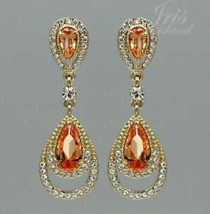 18K Gold Plated GP Crystal Rhinestone Topaz CZ Wedding Drop Dangle Earrings 1695