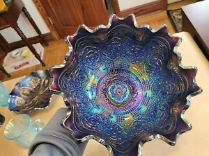 Electric Fenton Persian Medallion Carnival Glass Blue Fruit Bowl Grape & Cable