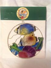 2 Fish Swiming Suncatcher - Handpainted Capiz Seashells Multi-Color