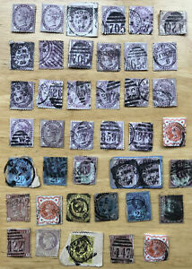 GB Victorian stamps x 40 mixed stamps on and off paper