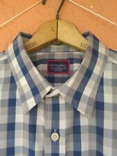 Untuckit Mens LARGE Long Sleeve GRAY BLUE WRINKLE FREE Button Front Relaxed Fit