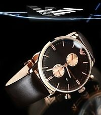 New Emporio Armani AR0387 Rose Gold Tone Brown Leather Men's Classic Watch + Box