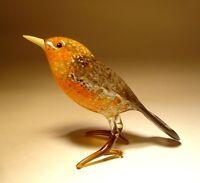"""Blown Glass """"Murano"""" Art animal Figurine Brown and Orange Bird"""