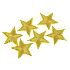 6 Pcs Fabric Gold Star Embroidery Badge Patch Iron On Applique DIY Sewing Craft
