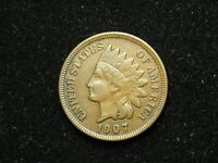 NEW YEAR'S SALE XF 1907 INDIAN HEAD CENT PENNY w/ DIAMONDS & FULL LIBERTY #131h