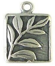 DH55 - 1 Bali .925 Oxidized Sterling Silver 2-sided Leaves / Vine Square Charm