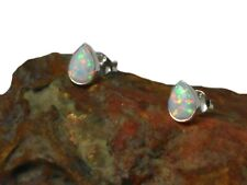Feurige weiße Opal Sterling Silber 925 Edelstein Ohrstecker - 5 x 7 mm
