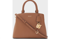 NWT DKNY PAIGE MEDIUM SATCHEL CROSSBODY BAG CARMEL BROWN SHOULDER PURSE $178