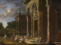 """oil painting """"  An architectural capriccio with elegant figures """""""