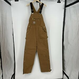 Carhartt (Quilt-Lined Zip-To-Thigh Bib Canvas Overalls) R41 BRN - 34x32 brown