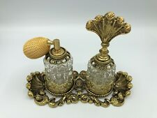 Vintage Gold Ornate Ormolu Filigree Perfume Tray w/2 Glass Atomizer/Dauber