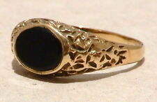 9K GOLD ONYX RING - HALLMARKED - SIZE 9 1/2 - 3 GRAMS - FREE SHIPPING