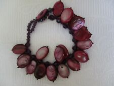 JESS DAVID PURPLE DYED MOTHER-OF-PEARL GEMSTONE AND GLASS CRYSTAL BRACELET - NEW