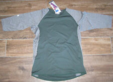 Majestic Youth M MD Featherweight Therma Base 3/4 Sleeve Tech Fleece GREEN GREY