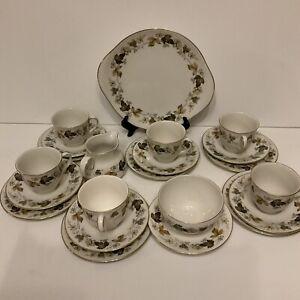 Royal Doulton Larchmont - Tea Set - 6 Trios- + Cake Plate; Sugar Dish & Milk Jar