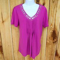 Jaclyn Smith Shirt Womens Size L Purple Poly Blend Short Sleeve UNIQUE BEADWORK