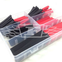 100 PIECE BLACK RED 2:1 RATIO HEAT SHRINK ELECTRICAL WIRING TUBING ASSORTED KIT