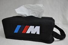 Black Car Seat Tissue Box Cover Holder Case w/ Embroidery BMW M M3 M5 Power Logo