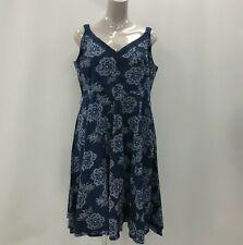 Joe Browns Shirred Back Strap Dress UK 26 Blue Floral Print Crochet Trim 320828