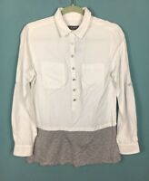 Mint Velvet White Grey Button Up Layered Shirt Jersey Top 8 - B62
