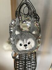 Justice Girls Mini Backpack Silver Sequins Husky New Bag