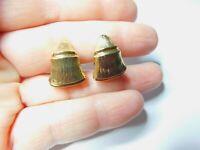 Bamboo Textured Gold Tone Metal Tapered Half Hoop Clip On Earrings Vintage
