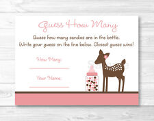 "Pink Willow Deer Printable Baby Shower ""Guess How Many?"" Game Cards"